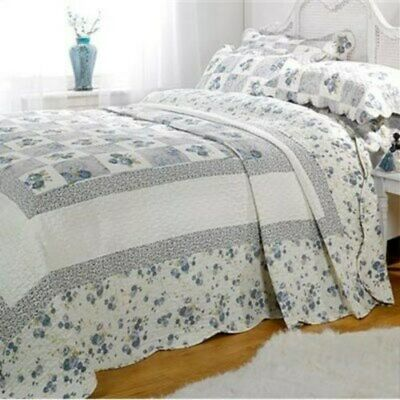 Emma Barclay Quilted Patchwork 100% Cotton Bedspread Throw Set Blue All Sizes