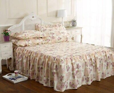 Emma Barclay Traditional Floral Fitted Quilted Bedspread Throw Set Lilac 3 Sizes