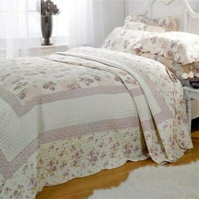 Emma Barclay Quilted Patchwork 100% Cotton Bedspread Throw Set Lilac All Sizes