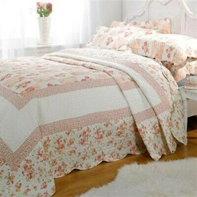 Emma Barclay Quilted Patchwork 100% Cotton Bedspread Throw Set Pink All Sizes