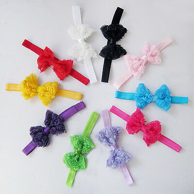 10pc Elastic Girl's Baby Toddler Chiffon Bow Headband Hair Band Hair Accessories