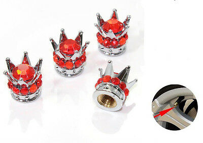 Silver Crown Red Stones  Car Wheel Air Tyre Valve Dust Caps Covers  Set of 4