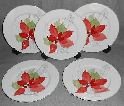 1982 Set (5) Block Spal POINSETTIA PATTERN Salad Plates MARY LOU GOERTZEN