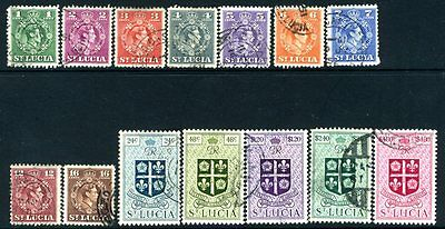 ST LUCIA-1949-50 Set to $4.80 Set of 14 Values Sg 146-159 VERY FINE USED V15139