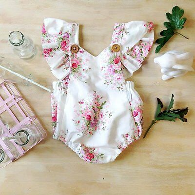 Newborn Infant Baby Girl Floral Romper Jumpsuit Bodysuit Outfits Sunsuit Clothes