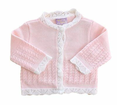 Baby Girls Pink & White Round Neck Cable Knit Cardigan by Dizzy Daisy
