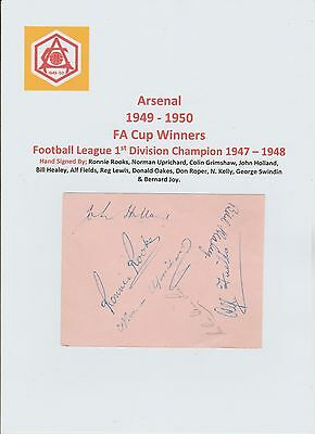 Arsenal 1949-1950 Fa Cup Winners Rare Original Hand Signed Page 13 X Signatures
