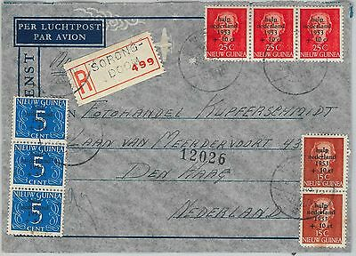 DUTCH NEW GUINEA - OVERPRINTED STAMPS on REGISTERED COVER from SORONG DOOM 1953