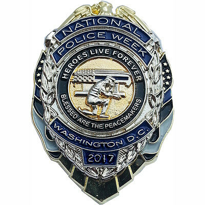 2017 Nation Police Week Hero Live Forever Blessed Are the Peacemakers Shield Pin