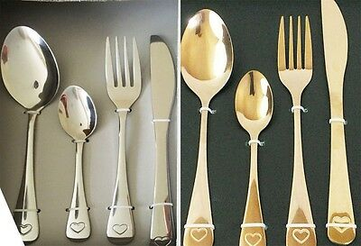Contemporary Stainless Steel Stylish 16 Piece Kitchen Cutlery Set Copper effect