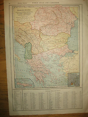 1925 Original  Vintage  Map BALKAN STATES / RUSSIA  DATED 92 Yrs Old