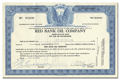 Red Bank Oil Company Stock Certificate