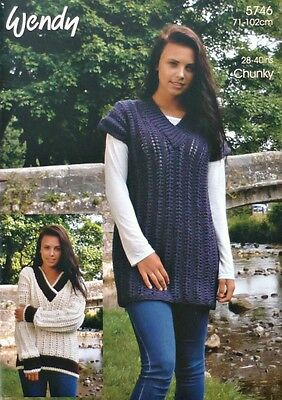 KNITTING PATTERN Ladies Easy Knit V-Neck Long Tunic/Jumper Chunky Wendy 5746