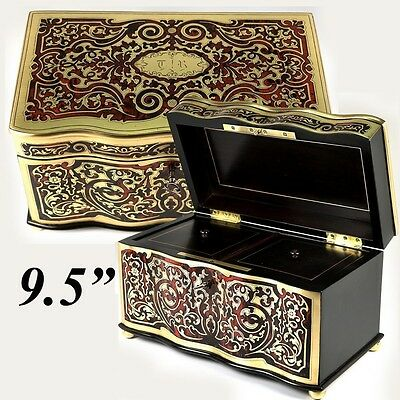 Superb Antique French Boulle Tea Caddy, Double Well, Exceptionally Fine, has Key