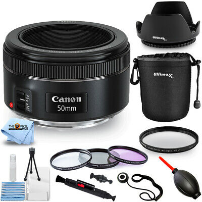 Canon EF 50mm f/1.8 STM Lens 0570C002 + Filter Kit + Tulip Hood Lens Pro Bundle
