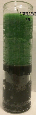 Green & Black, Double Action, 7 Day Candle, Spells, Rituals, Prayers, Wicca