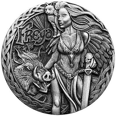 FREYA NORSE GODDESSES 2oz High Relief silver coin antiqued Tuvalu 2017