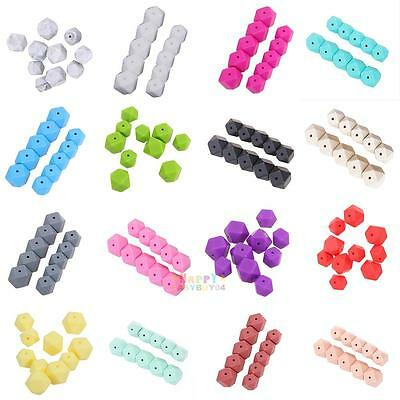 10pcs BPA-Free Silicone Beads Baby Teether Teething Polygon Chew Chain Necklace