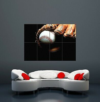 Baseball Bat Glove Giant Wall Art Print Poster X2282