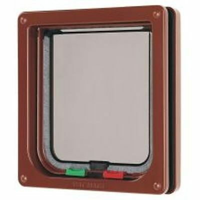 Pet Mate 4 Way Locking Cat Flap Brown sgl 309B