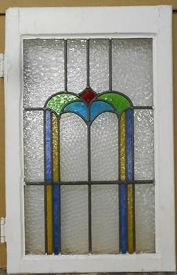 "LARGE OLD ENGLISH LEADED STAINED GLASS WINDOW Stunning Arch 18.25"" x 28.5"""