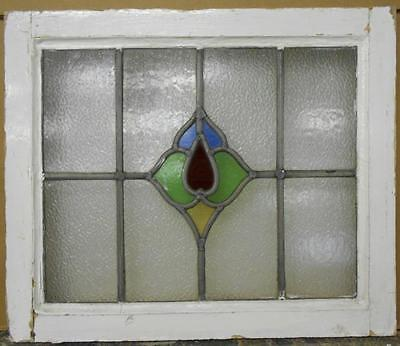 """OLD ENGLISH LEADED STAINED GLASS WINDOW Beautiful Floral 21.25"""" x 18"""""""