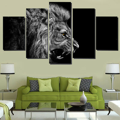 Modern Canvas Wall Art of Lion Print for your Living Room - 5 Panel Size L