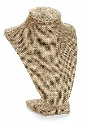 """Burlap Necklace Bust Jewelry Display Stand 10"""" High"""