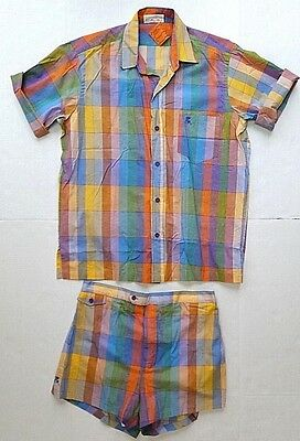 VTG--NOS--COUNTESS MARA PLAID CABANA SUIT--Swim Shorts--Size L--Rare!