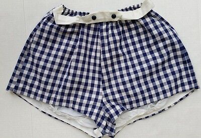 Vintage 1950's GINGHAM HIGH WAISTED SHORT SHORTS--Blue White--Size XS/S