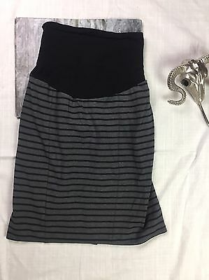 A Pea in the Pod Women's Maternity Gray Striped Stretch Knit Skirt Size Large
