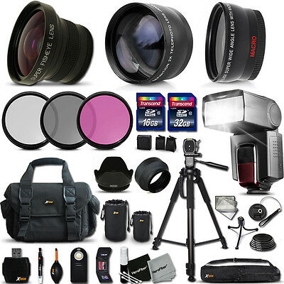 Xtech Kit for Canon EOS Rebel 60D Ultimate 37 Pc w/ Lenses +Memory +Flash +MORE!