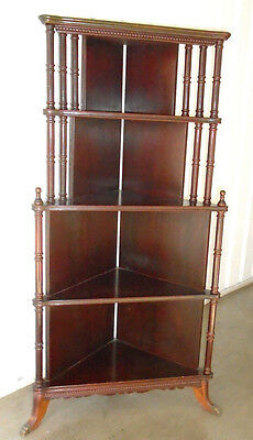 "Antique Vintage Hardwood Corner Display Shelf Etagere Cabinet 49"" Tall"