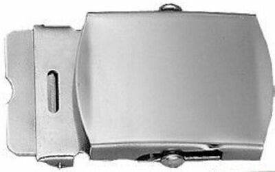 U.s Military Chrome Plated Solid Brass Belt Buckle Made In The U.s.a