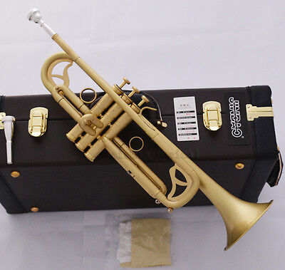 Professional Matt Brushed JINBAO Bb Trumpet Horn Monel 2-Mouthpiece Leather Case
