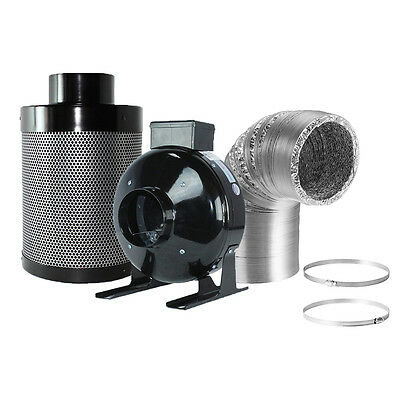 Hongville190 CFM Inline Fan with Speed Controller Carbon Filter Ducting Combo