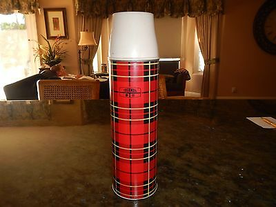 Vintage 1973 King Seeley Red Plaid Thermos Brand Bottle No.2442 W/3 Cups