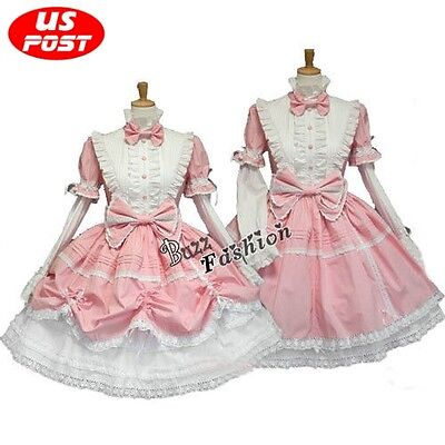 Princess Dress Pink And White Lolita Maid Outfit Women Fancy Cosplay Costume