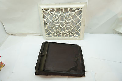 ANTIQUE HEAT REGISTER GRATE WITH LOUVER CAST IRON ORNATE 10 x 12 VICTORIAN OLD