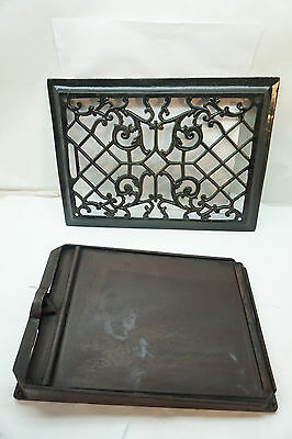 ANTIQUE HEAT REGISTER GRATE WITH LOUVER CAST IRON ORNATE 10 x 14 VICTORIAN OLD