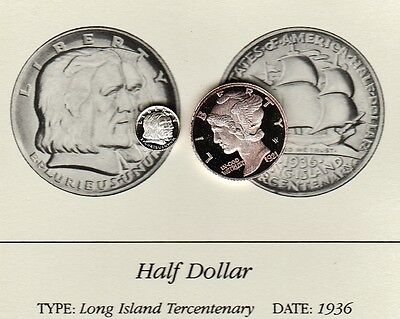 1936 Long Island Half Dollar Franklin Mint Miniature Sterling Silver Proof Coin