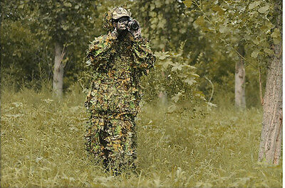 3D Camo Leaf Camouflage Ghillie Suits Woodland Jungle Sniper Training Clothing