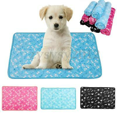 Warm Pet Blanket Mat Small Paw Print Cat Dog Puppy Coral Fleece Soft Bed Cushion