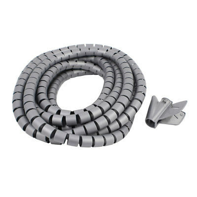 20mm Flexible Spiral Tube Cable Wire Wrap Computer Manage Cord Gray 5M w Clip