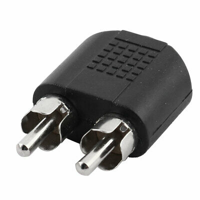 3.5mm Female Jack to Dual RCA Male Audio Splitter Adapter Connector Black