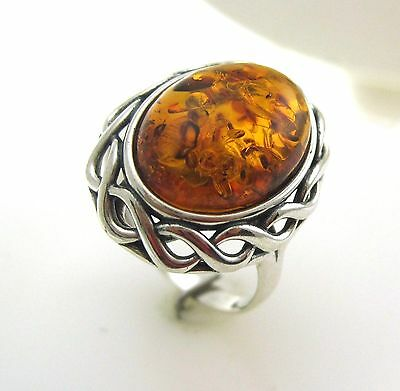 Sterling Silver 925 3.00ct Baltic Amber Ring
