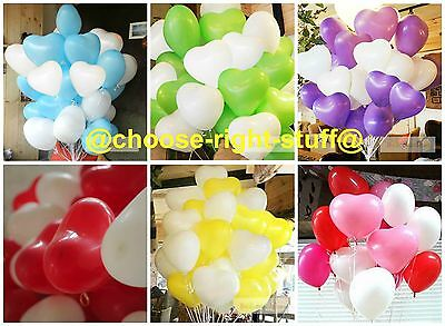 "12"" X 10-100 Heart Shape White With Mix Colour Balloons Mothers Day Birthday"
