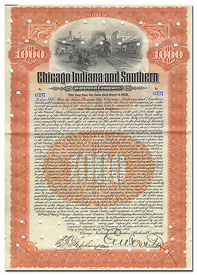 Chicago Indiana and Southern Railroad Company Bond Certificate