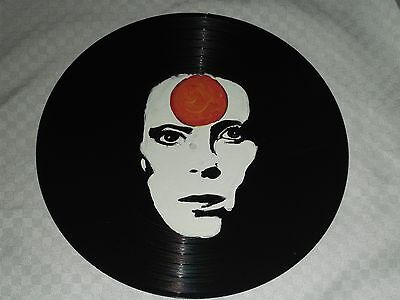 David Bowie, Hand Painted  12 Ins Vinyl Disc  Ready To Hang  1