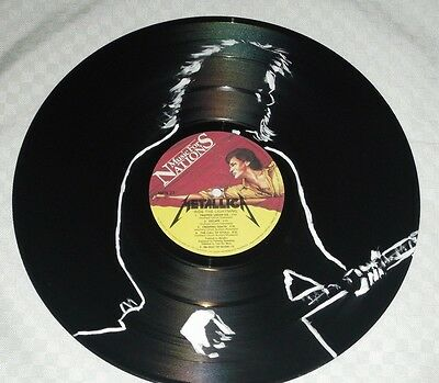 Metallica,  Ride The Lightning Hand Painted  12 Ins Vinyl Disc  Ready To Hang